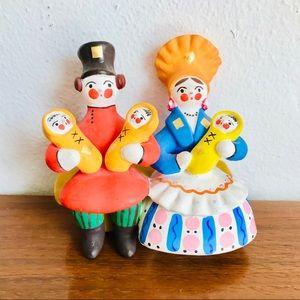 Vintage Russian Dymkovo/ Vyatka/ Kirov toy family